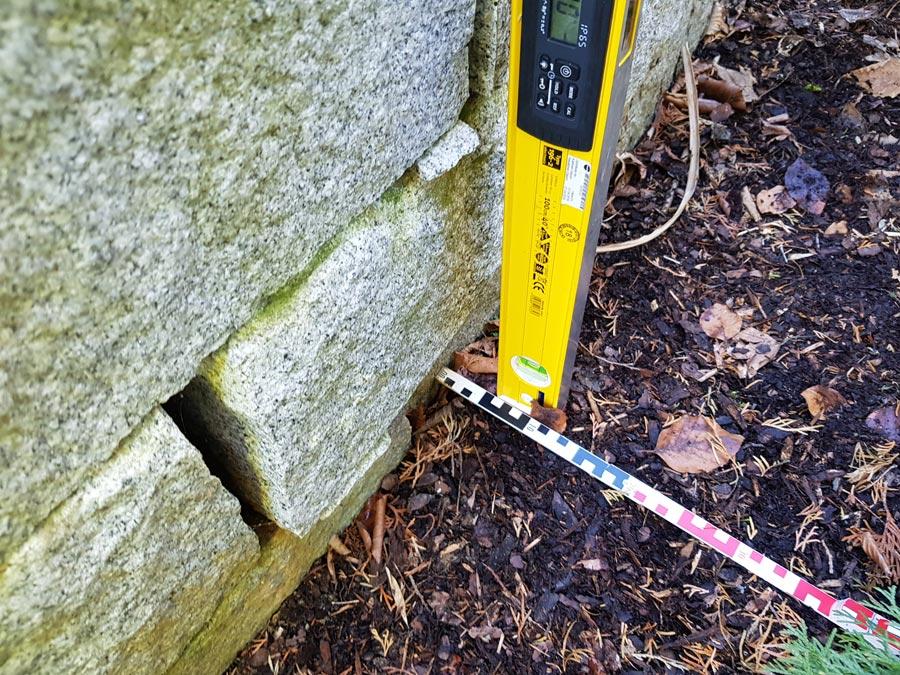 Messungen von Steinmauer